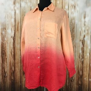 2X Soft Surroundings Linen Ombre Tunic Shirt Coral
